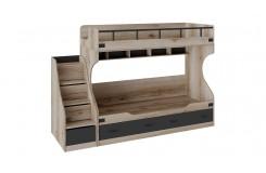 Кровать двухъярусная с приставной лестницей «Окланд» (Фон Черный/Дуб Делано)