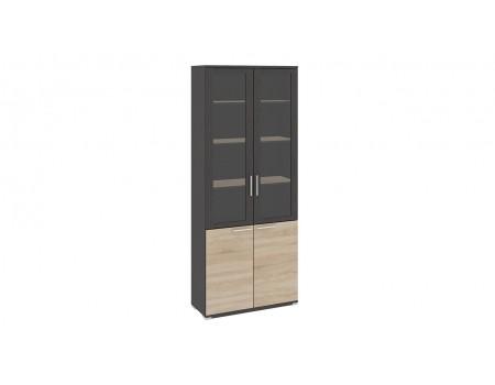 Шкаф для документов с 2-мя дверями со стеклом «Успех-2» (Венге Цаво, Дуб Сонома)